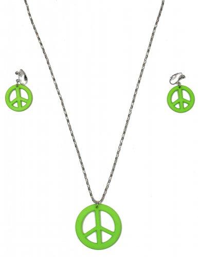 Colar e brincos verdes hippie - adulto