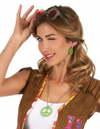Colar e brincos verdes hippie - adulto-1