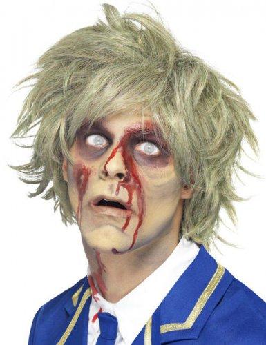 Peruca curta loira zombie homem Halloween