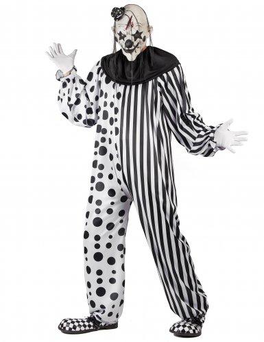 Disfarce Palhaço assustador preto e branco adulto-1