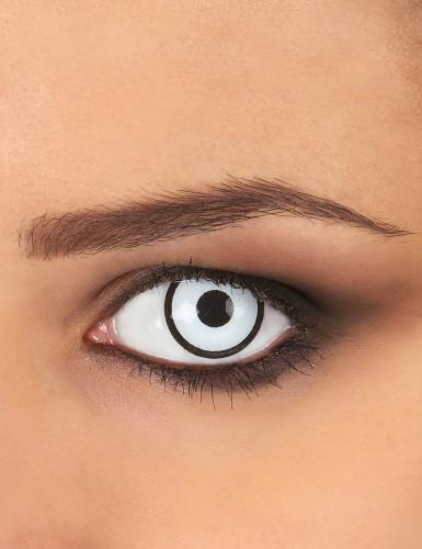 Lentes fantasia olho branco e preto adulto