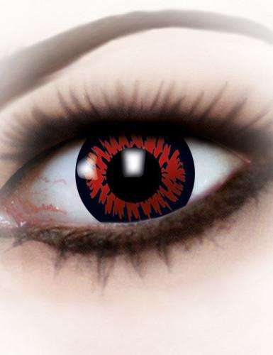 Lentes fantasia olho de lobisomem vermelho Halloween adulto