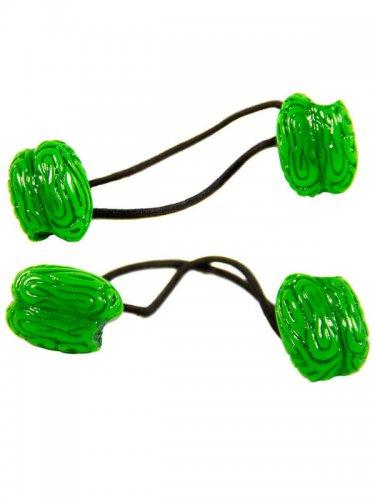 2 elásticos para o cabelo cérebro verde