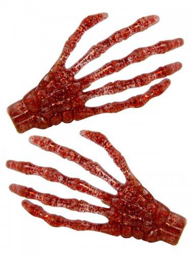 2 travessões cabelo mão de esqueleto purpurinas 7 cm
