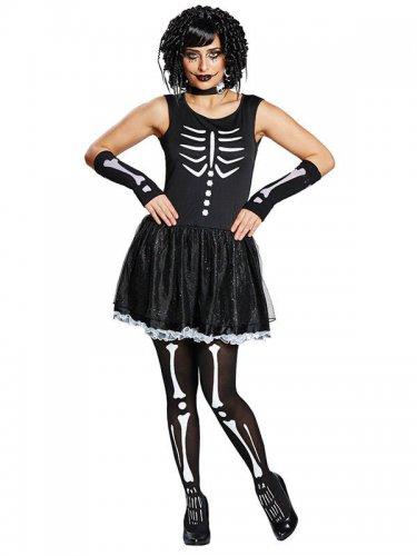 Disfarce esqueleto preto e branco mulher
