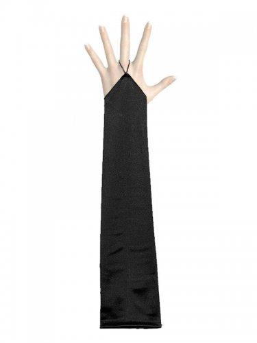 Luvas longas acetinadas e pretas sem dedos - adulto