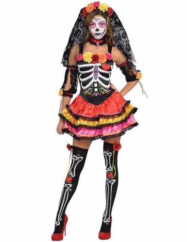 Disfarce esqueleto colorido Dia de los meurtos mulher