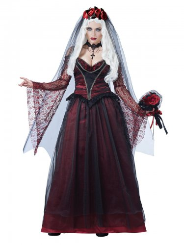 Disfarce de noiva vampira gótica mulher Halloween