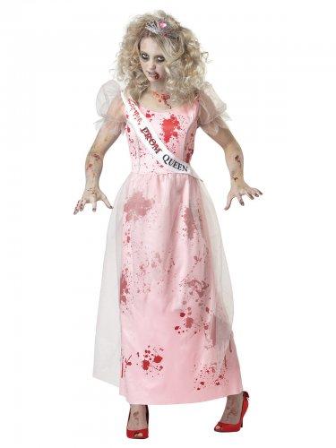 Disfarce rainha do baile zombie mulher Halloween