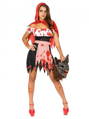Disfarce do Capuchinho vermelho zombie mulher
