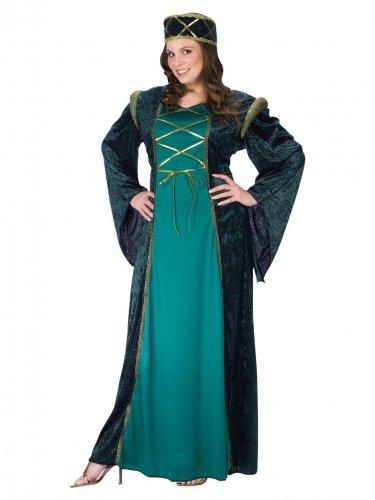 Disfarce medieval verde mulher