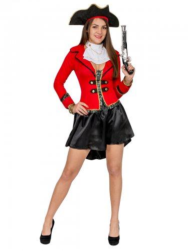 Disfarce pirata preto e vermelho - mulher