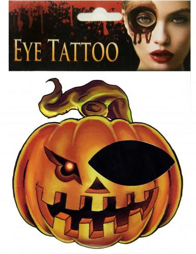 Tatuagem de abóbora para olho Halloween adulto