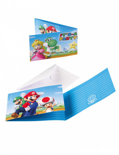 8 Convites e envelopes Super Mario™