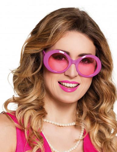Óculos disco cor-de-rosa adulto