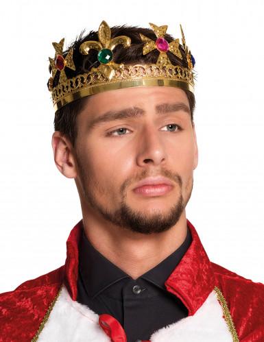 Coroa rei com jóias falsas adulto