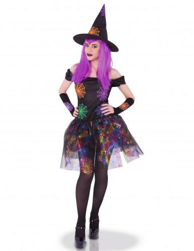 Disfarce bruxa teias de aranha coloridas mulher