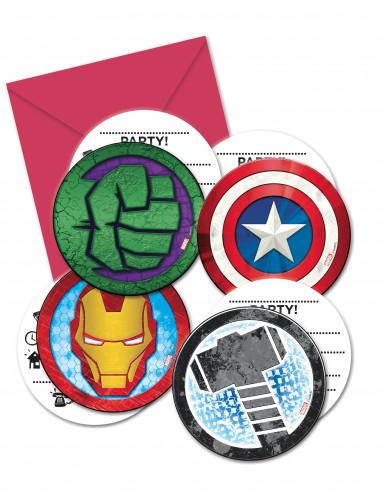 6 Convites e 6 Envelopes Avengers Mighty™ - Os vingadores