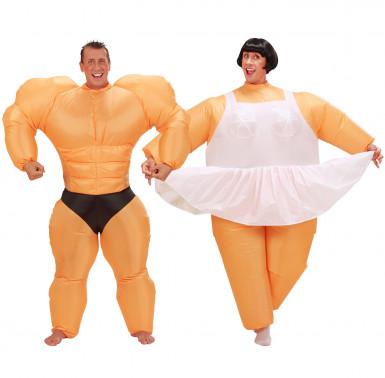 Disfarce de casal humorístico bailarina e bodybuilder insuflável