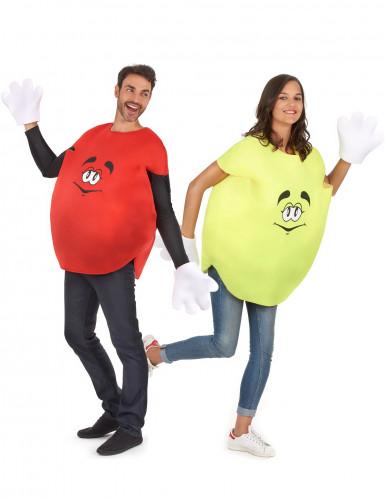 Disfarce de casal rebuçado amarelo e vermelho adulto