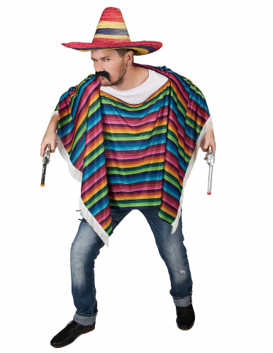 Poncho mexicano colorido com franjas!