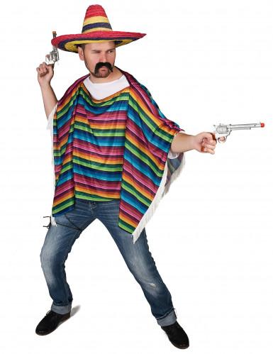 Poncho mexicano colorido com franjas!-1