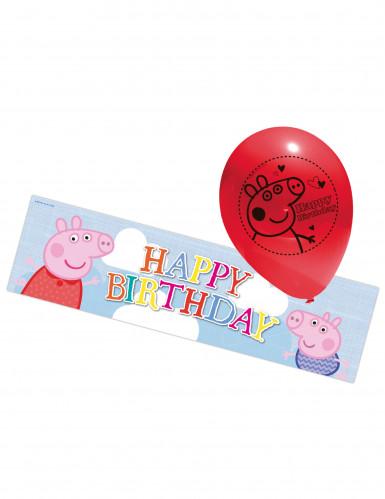 5 Balões e cartaz Peppa Pig™ - Porquinha Peppa Pig™