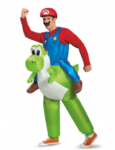 Disfarce insuflável Mario as costas de Yoshi Nintendo® adulto