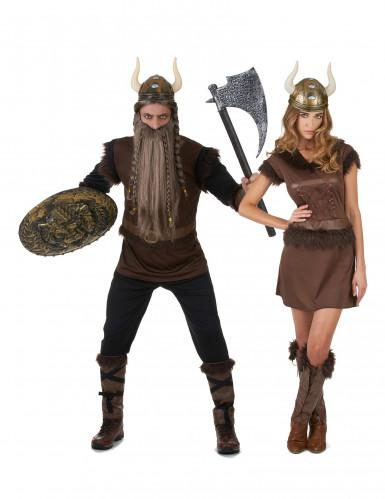 Disfarce de casal Viking adulto