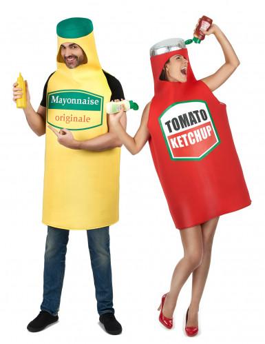 Disfarce de casal maionese e ketchup adulto