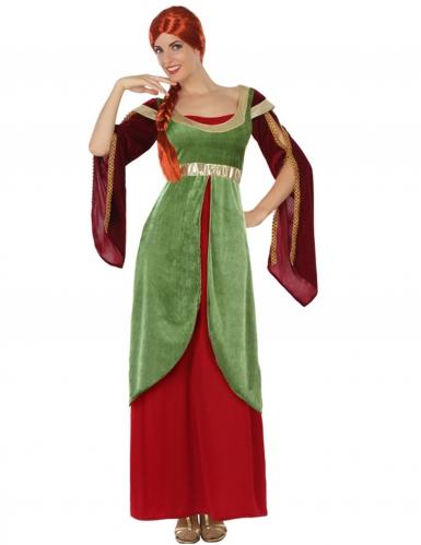 Disfarce dama medieval verde e vermelho mulher