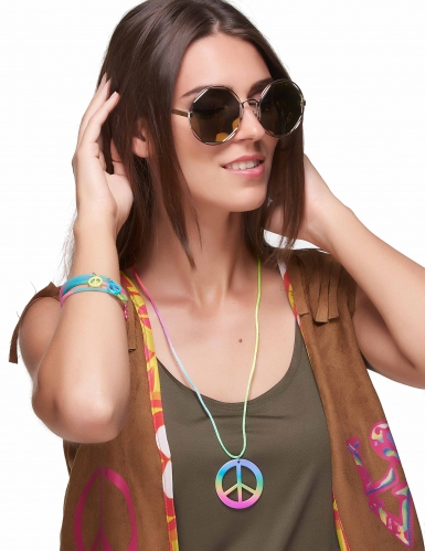 Colar e pulseira hippie multicores em plástico - adulto-1