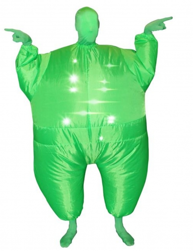 Disfarce insuflável e luminoso verde adulto Morphsuits™