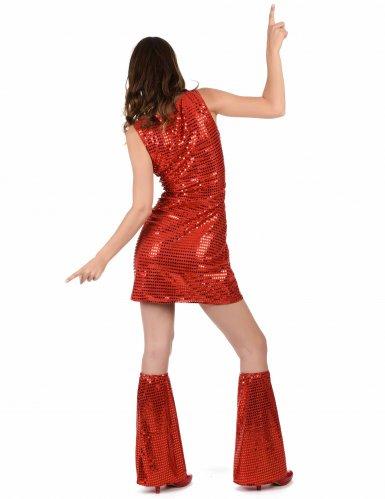 Disfarce Disco vermelho com lantejoulas mulher-2