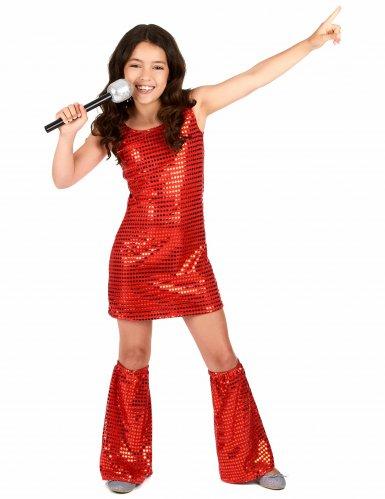 Disfarce Disco vermelho com lantejoulas menina