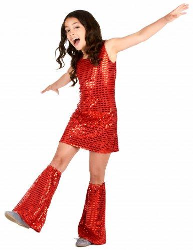Disfarce Disco vermelho com lantejoulas menina-1