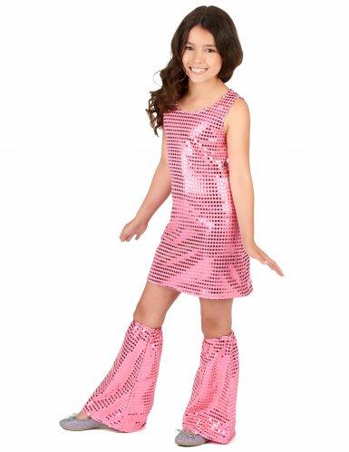 Disfarce Disco cor-de-rosa com lantejoulas menina-1
