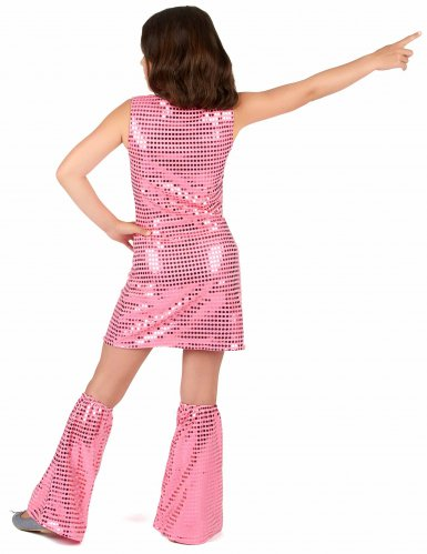 Disfarce Disco cor-de-rosa com lantejoulas menina-2