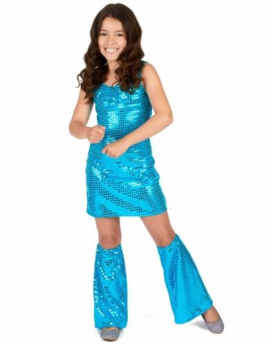 Disfarce Disco azul turquesa com lantejoulas menina