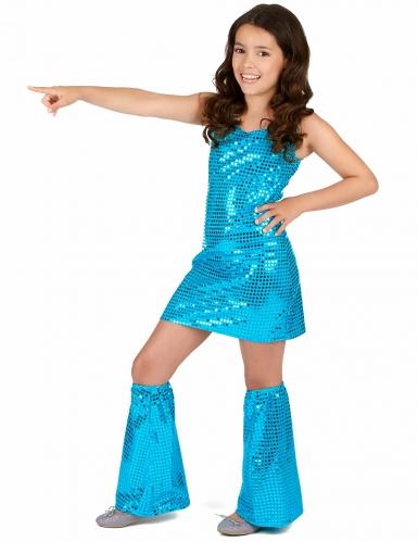 Disfarce Disco azul turquesa com lantejoulas menina-1