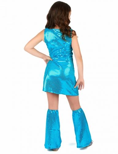 Disfarce Disco azul turquesa com lantejoulas menina-2