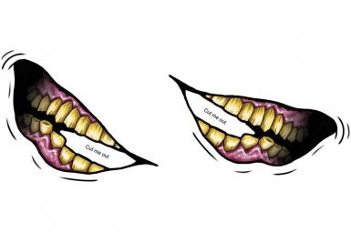 Tatuagem temporária grande sorriso torto-1