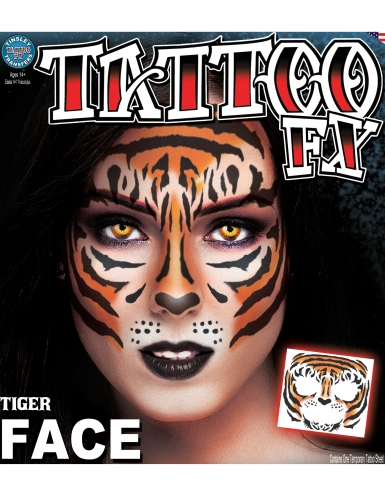 Tatuagem temporária cara tigre adulto