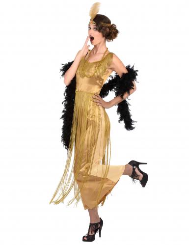 Disfarce Charleston dourado com franjas mulher-1