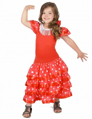 Disfarce dançarina de Flamenco vermlho as bolas brancas menina-1