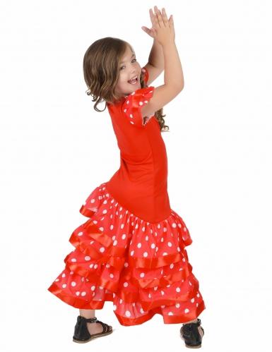 Disfarce dançarina de Flamenco vermlho as bolas brancas menina-2
