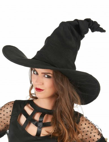 Chapéu feiticeira aveludado preto - adulto-1