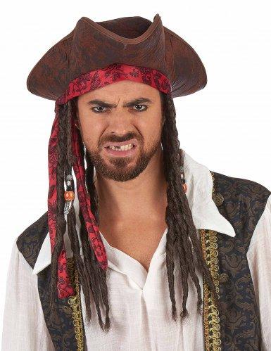 Chapéu de pirata castanho com peruca adulto-1