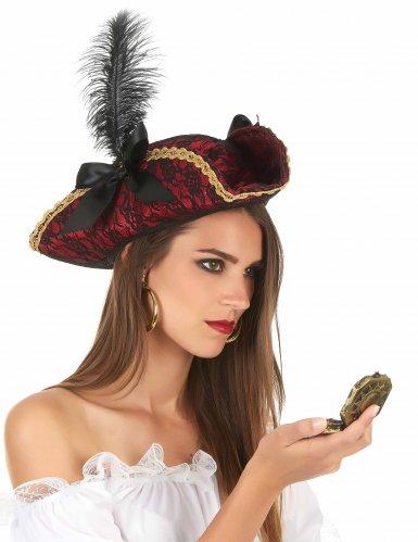 Chapéu de pirata vermelho com pena - adulto-1