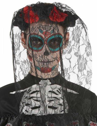 Tiara preto e vermelho dia dos mortos com renda rasgada - adulto-1